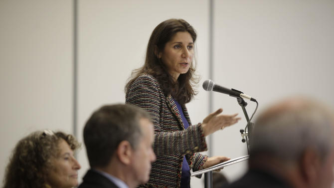 """Faiza Patel, co-author of a """"A Proposal for an NYPD Inspector General"""" speaks during a discussion about NYPD oversight in New York, Wednesday, Oct. 24, 2012. Criminal justice experts and legal scholars are exploring whether an independent inspectorgeneral should monitor New York City police. (AP Photo/Seth Wenig)"""