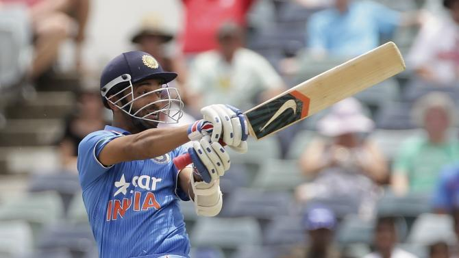 India's Rahane pulls against England during their ODI at the WACA ground