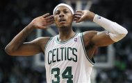 Boston Celtics' Paul Pierce looks for a reaction from the crowd in the second quarter of an NBA first-round playoff series basketball game against the Atlanta Hawks in Boston, Sunday, May 6, 2012. The Celtics won 101-79. (AP Photo/Michael Dwyer)
