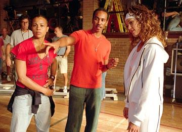 Choreographer Laurieann Gibson , director Bille Woodruff and Jessica Alba on the set of Universal's Honey