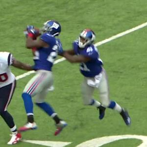 Houston Texans quarterback Ryan Fitzpatrick intercepted by New York Giants safety Antrel Rolle