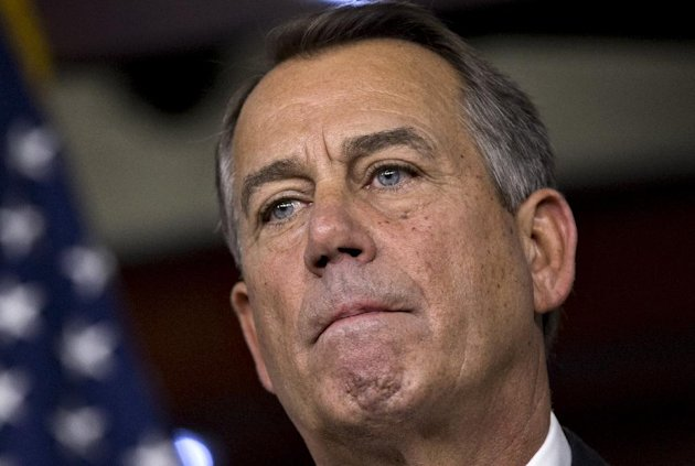 FILE - In this Dec. 21, 2012 file photo, Speaker of the House John Boehner, R-Ohio, speaks to reporters about the fiscal cliff negotiations at the Capitol in Washington. (AP Photo/J. Scott Applewhite)