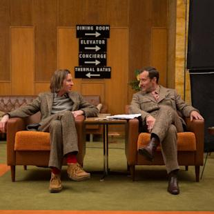 "This image released by Fox Searchlight shows director Wes Anderson, left, with Jude Law on the set of ""The Grand Budapest Hotel ."" (AP Photo/Fox Searchlight, Martin Scali)"