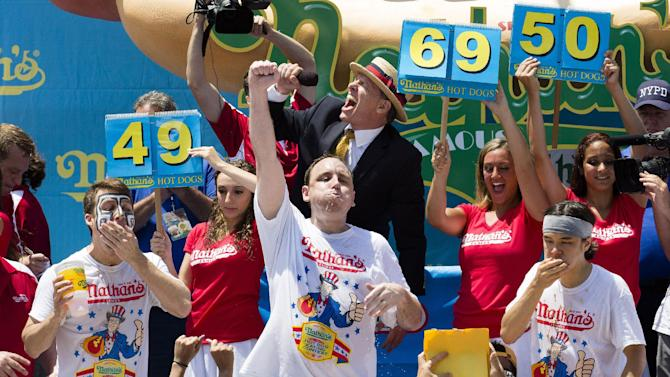 Joey Chestnut wins the Nathan's Hot Dog Eating Contest