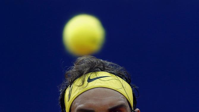 Spain's Nadal plays a shot during his semi-final tennis match against Austria's Thiem at the ATP Argentina Open in Buenos Aires