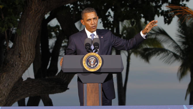 U.S. President Barack Obama speaks during his closing press conference at the Asia-Pacific Economic Cooperation summit Sunday, Nov. 13, 2011, in Kapolei, Hawaii. (AP Photo/Andres Leighton)