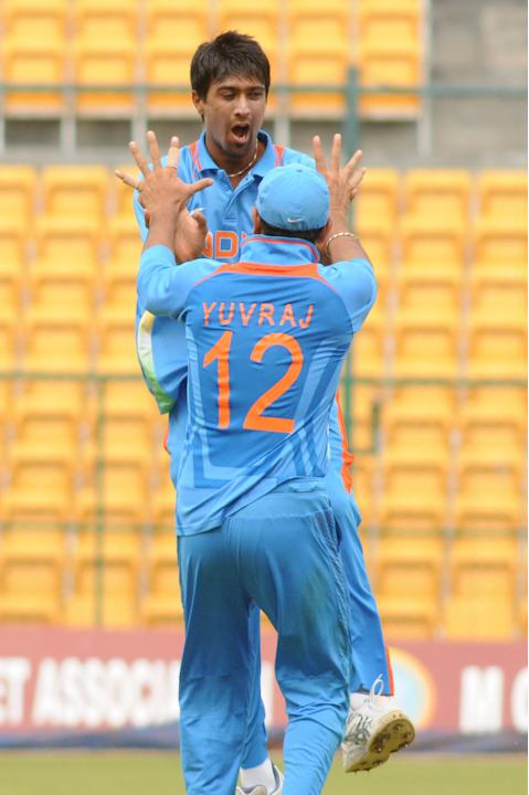 Rahul Sharma of India A team celebrates after the wicket of West Indies A team, he took 5 wickets against West Indies A team, during  India A team v/s West Indies A team unofficial T-20 cricket match