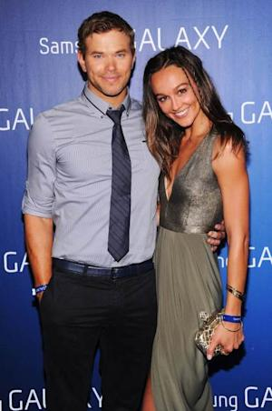 Kellan Lutz and Sharni Vinson at the Samsung Galaxy Shangri-La Party on February 2, 2013 in New Orleans, Louisiana -- Getty Premium