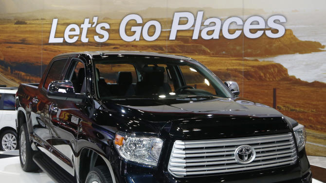 The redesigned 2014 Toyota Tundra is unveiled at the Chicago Auto Show Thursday, Feb. 7, 2013, in Chicago. (AP Photo/Charles Rex Arbogast)
