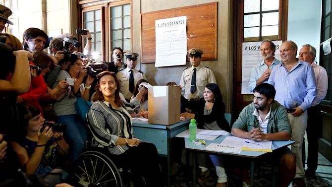 Gabriela Michetti of the PRO party casts her vote in a primary election in Buenos Aires