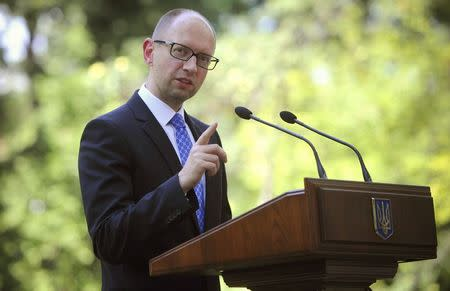 Ukraine's PM Yatseniuk speaks to the media in Kiev