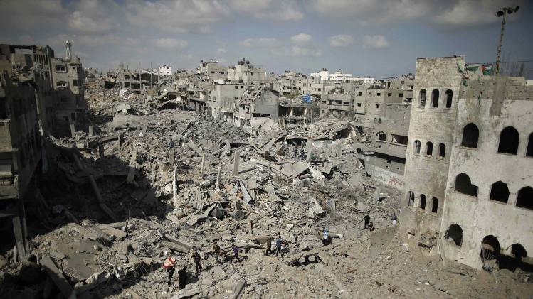 A general view of destruction in the Shejaia neighbourhood, which witnesses said was heavily hit by Israeli shelling and air strikes during an Israeli offensive, is seen in Gaza City