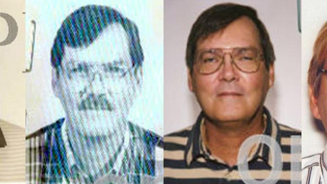 FILE - This combination of photos provided by the Federal Bureau of Investigation shows William James Vahey in 1986, 1995, 2004 and 2013. Vahey, 64, killed himself in Luverne, Minn. on March 21, 2014. The discovery of Vahey, a man the FBI regards as one of the most prolific pedophiles in memory has set off a crisis in the community of international schools, where parents are being told that their children may have been victims, and administrators are scurrying to close loopholes exposed by Vahey's abuses. (AP Photo/FBI, File)