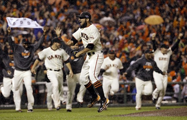 San Francisco Giants relief pitcher Sergio Romo reacts after the final out in Game 7 of baseball's National League championship series against the St. Louis Cardinals Monday, Oct. 22, 2012, in San