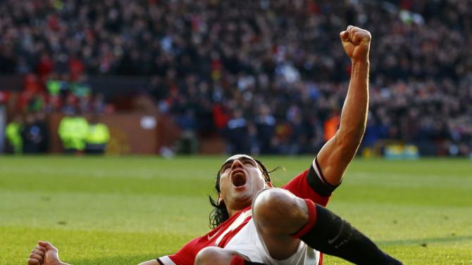 Manchester United's Radamel Falcao celebrates his goal during their English Premier League soccer match against Leicester City at Old Trafford in Manchester