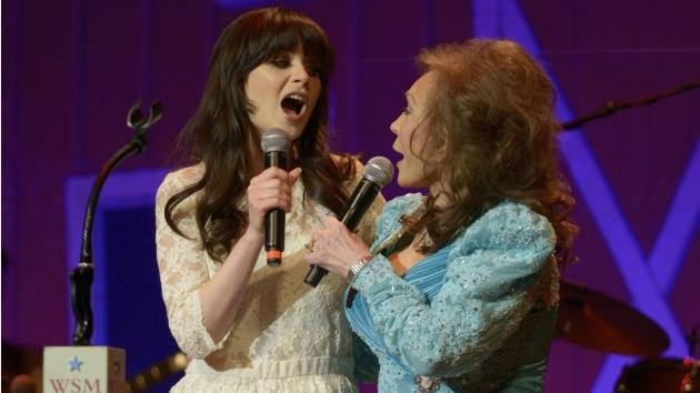 Loretta Lynn announces from the stage of the historic Ryman Auditorium during Opry Country Classics that she Zooey Deschanel to portray her in an upcoming Broadway-bound stage adaptation of 'Coal Miner's Daughter' on May 10, 2012 in Nashville, Tenesse -- Getty Images