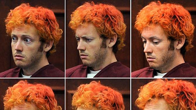 This photo combination shows a variety of facial expressions of James E. Holmes during his appearance at Arapahoe County District Court Monday, July 23, 2012, in Centennial, Colo. Holmes is accused of killing 12 and wounding 58 in a shooting rampage in a movie theater on Friday, July 20 in Aurora, Colo.  (AP Photo/Denver Post, RJ Sangosti, Pool)