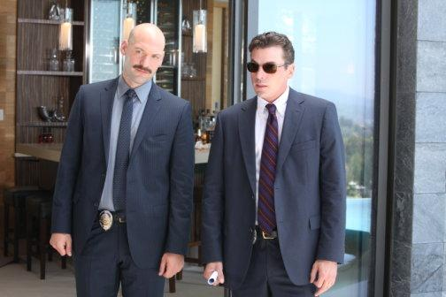 "Corey Stoll as Det. Tomas ""TJ"" Jarusalski and Skeet Ulrich as Det. Rex Winters in ""Law & Order: Los Angeles."""