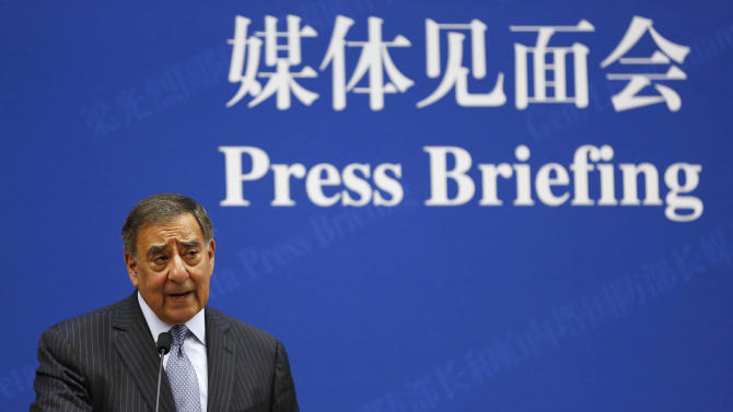 U.S. Defense Secretary Leon Panetta speaks at a news conference with China's Defense Minister Liang Guanglie, not seen, at the Bayi Building in Beijing, China Tuesday, Sept. 18, 2012. (AP Photo/Larry Downing, Pool)