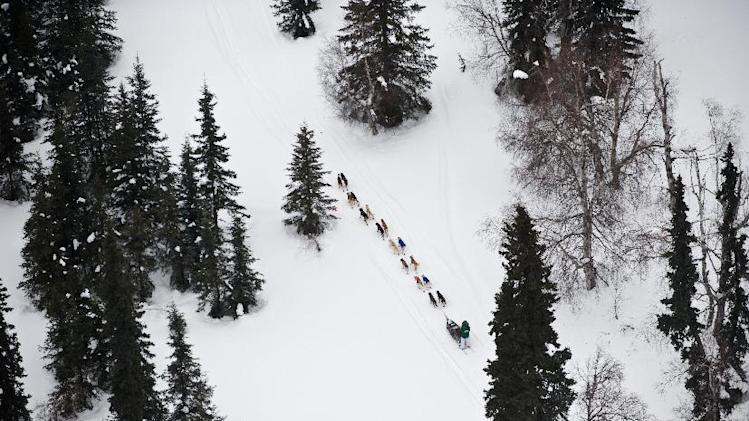A musher competing in the Iditarod Trail Sled Dog Race heads toward the Finger Lake, Alaska, checkpoint on Monday, March 5, 2012. (AP Photo/Anchorage Daily News, Marc Lester)
