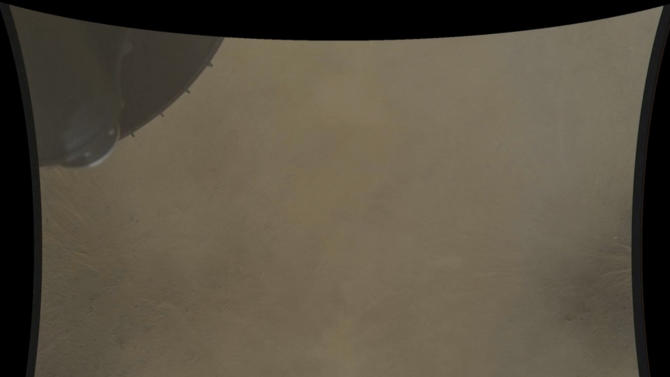 This frame of a high definition stop motion video taken during the NASA rover Mars landing provided by the space agency on Thursday, Aug. 23, 2012, was taken moments before the Curiosity rover landed on the surface of Mars on Sunday, Aug. 5, 2012. Curiosity is the first spacecraft to record a landing on another planet. The six-wheel rover arrived on Aug. 5 to begin a two-year mission to examine whether the Martian environment was hospitable for microbial life. (AP Photo/NASA/JPL-Caltech/MSSS)