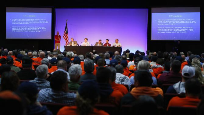 People attend a public meeting held by the Nuclear Regulatory Commission about the restarting of the San Onofre Nuclear power plant in Capistrano Beach