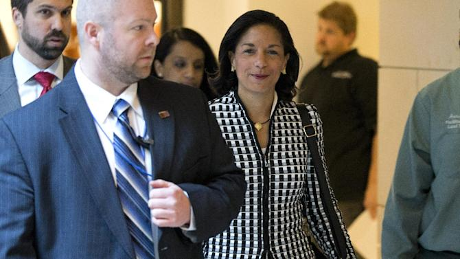 UN Ambassador Susan Rice arrives for a meeting on Capitol Hill in Washington Wednesday, Nov. 28, 2012, with Sen. Susan Collins, R- Maine and Sen. Corker, R-Tenn., to discuss the Benghazi terrorist attack. Rice continued her fight Wednesday to win over skeptics in the Senate who could block her chances at becoming the next U.S. secretary of state, while Republican lawmakers said they were even more troubled after face-to-face meetings with her over the handling of the Sept. 11 deadly attack on the U.S. Consulate in Benghazi, Libya.  (AP Photo/ Evan Vucci)