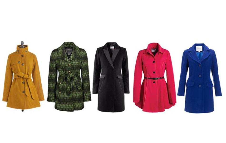 An A-line coat accentuates your waist and flares out, creating a covetable hourglass figure. Clockwise from left: Modcloth, $70; The Buckle, $80; H&M, $96; Delia's, $56; Monsoon, $175.