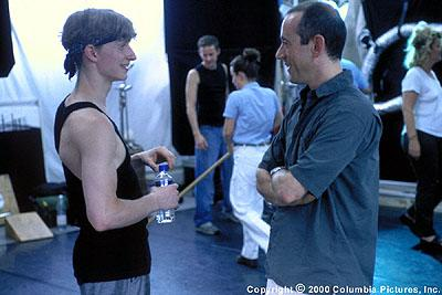"Director Nicholas Hytner (right) discusses a scene with young star Ethan Stiefel (""Cooper"") during the filming of the Columbia Pictures presentation, Center Stage"