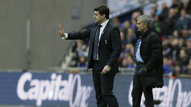 Tottenham's manager Mauricio Pochettino gestures to his players  from the side lines during the English League Cup Final between Tottenham Hotspur and Chelsea at Wembley stadium in London, Sunday, March,  1, 2015. (AP Photo/Tim Ireland)