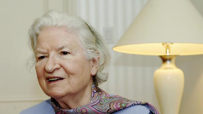 """FILE - This is a  Nov. 27, 2005 file photo of author P.D. James  as she discusses her latest novel, """"The Lighthouse,"""" another mystery featuring Scotland Yard detective Adam Dalgliesh, during an interview in New York. Publisher Faber and Faber says mystery writer P.D. James, who brought realistic modern characters to the classical British detective story died Thursday Nov. 27, 2014 . She was 94. James' books, many featuring sleuth Adam Dalgliesh, sold millions in many countries and most were just as popular when adapted for television. (AP Photo/Henny Ray Abrams/File)"""