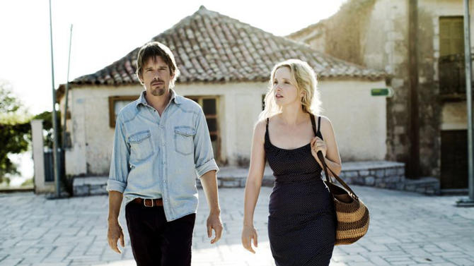 "This undated publicity photo released by the Sundance Institute shows, Ethan Hawke, left, and Julie Delpy, in a scene from the film, ""Before Midnight,"" directed by Richard Linklater. The Sundance Film Festival begins Thursday, Jan. 17, 2013, in Park City, Utah. This year's lineup of 119 feature films includes, Ashton Kutcher as Apple co-founder Steve Jobs in director Joshua Michael Stern's film biography ""jOBS""; Amanda Seyfried as porn star Linda Lovelace in Rob Epstein and Jeffrey Friedman's ""Lovelace""; Daniel Radcliffe as Allen Ginsberg in John Krokidas' beat-poet story ""Kill Your Darlings""; and Ethan Hawke and Julie Delpy in Richard Linklater's ""Before Midnight,"" a follow-up to ""Before Sunrise"" and ""Before Sunset,"" among others. (AP Photo/Sundance Institute, Despina Spyrou)"