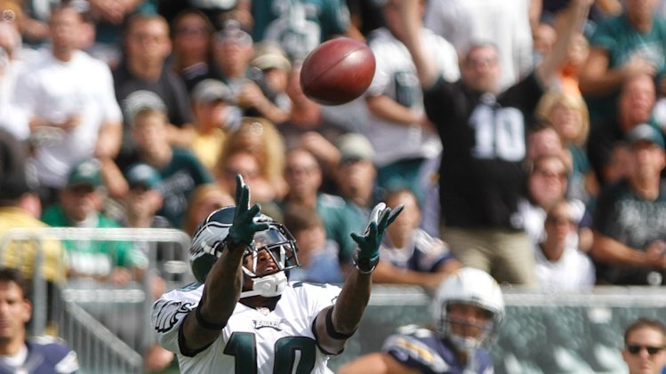 Philadelphia Eagles wide receiver DeSean Jackson (10) drops a long pass by Michael Vick in the third quarter against the San Diego Chargers of their NFL football game, Sunday, Sept. 15, 2013, in Philadelphia. The Chargers won 33-30