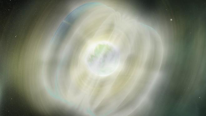 An artist's rendering of a flare emitted from a magnetar.