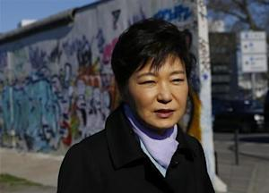 South Korean President Park visits East Side Gallery in Berlin