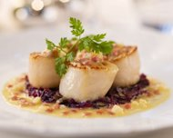 Seared scallops, part of Hyatt's new menus