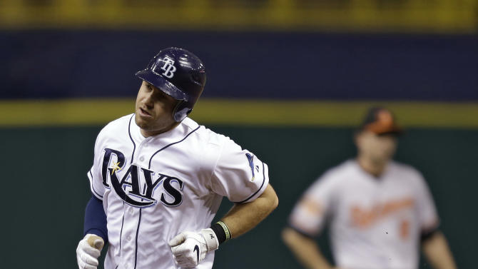 Tampa Bay Rays' Evan Longoria, left, rounds the bases past Baltimore Orioles shortstop J.J. Hardy after hitting a first-inning home run off Baltimore starting pitcher Chris Tillman during a baseball game Wednesday, Oct. 3, 2012, in St. Petersburg, Fla. (AP Photo/Chris O'Meara)