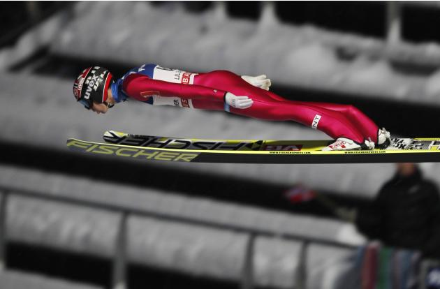 Bardal of Norway flies through the air during the men's H138 FIS World Cup ski jumping event in Lillehammer