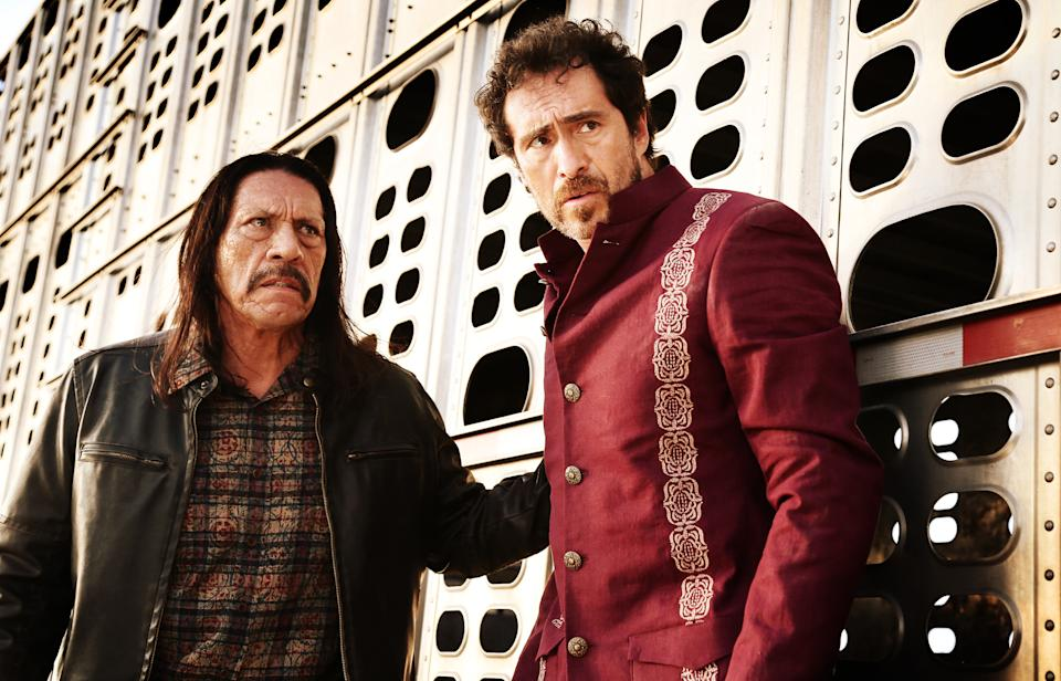 "This image released by Open Road Films shows Danny Trejo, left, and Demian Bichir in a scene from ""Machete Kills."" (AP Photo/Open Road Films, Rico Torres)"