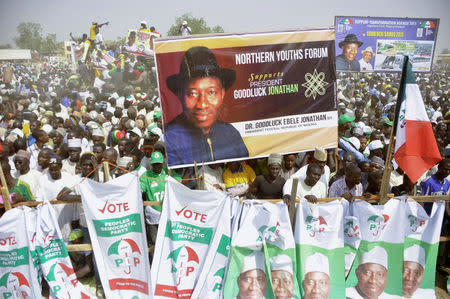 Supporters of Nigeria's People's Democratic Party gather during a presidential campaign rally in Kano