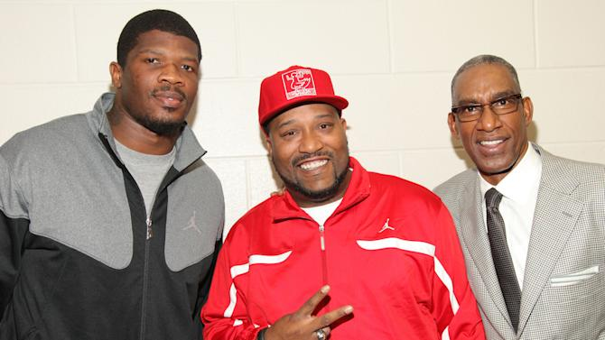 IMAGE DISTRIBUTED FOR JORDAN BRAND - From left, Andre Johnson, Bun B and Howard White pose for a photo during Jordan Brand's 'Backpacks for Believers', on Thursday, Feb. 14, 2013 in Houston, TX. On Thursday, Jordan Brand launched its 'Backpacks for Believers' program at Reagan and Wheatley High Schools in Houston. Texans star Andre Johnson and rapper Bun B joined to help give away 2,000 backpacks for all students with perfect attendance over the school year. (Photo by Omar Vega/Invision for Jordan Brand/AP Images)