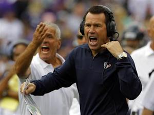 Texans head coach Kubiak yells to his team during their NFL football game against the Ravens in Baltimore