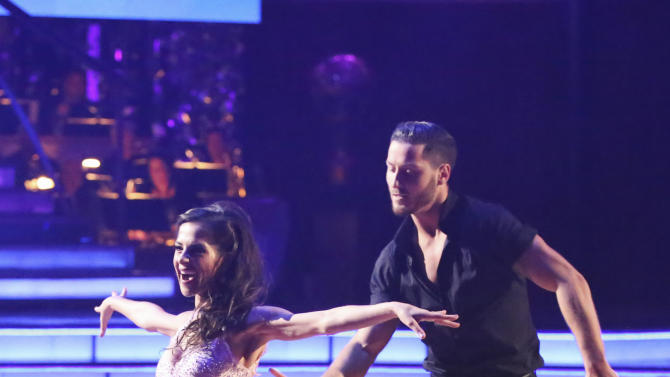 "This Monday, Nov. 26, 2012 publicity photo provided by ABC, shows Kelly Monaco, left, and Valentin Chmerkovskiy in ""Dancing with the Stars: All-Stars"" - Episode 1510, as a competing couple in a Super-Sized Freestyle one-hour performance in which they were allowed to add extra performers, to incorporate all kinds of lifts and tricks to create an out-of-this-world entertaining routine on the ABC Television Network. Monaco is a finalist for the ""Dancing with the Stars"" Mirror Ball Trophy on the ABC TV show Tuesday, Nov. 27, 2012. (AP Photo/ABC, Adam Taylor)"