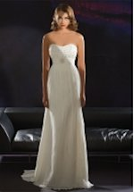 Sheath Strapless Floor Length Attached Chiffon Beading Wedding Dress Style