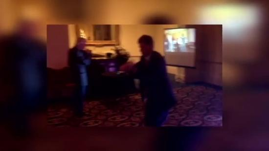General manager Stuart Kellogg dances at Christmas party
