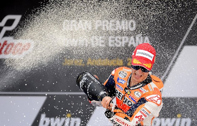 El piloto espaol de Honda Daniel Pedrosa celebra su vitoria en el GP de Espaa