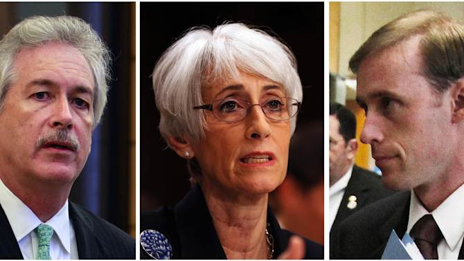 From left, U.S. Deputy Secretary of State William Burns, chief U.S. nuclear negotiator Wendy Sherman and Vice President Joe Biden's top foreign policy adviser Jake Sullivan appear in file photos. The U.S. and Iran secretly engaged in high-level, face-to-face talks in a high stakes diplomatic gamble by the administration that paved the way for the historic deal aimed at slowing Iran's nuclear program. Burns, Sherman and Sullivan were part of the delegation that met with Iranian officials in Oman and elsewhere. (AP Photo/File)
