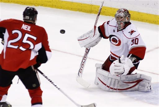 Ward has 38 saves as Hurricanes beat Senators 2-1