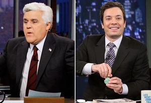 Jay Leno, Jimmy Fallon | Photo Credits: Paul Drinkwater/NBC, Lloyd Bishop/NBC