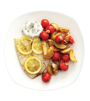 Roasted fish with veggie medley, Feb 13, p94